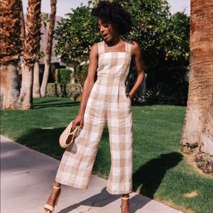 New Gal Meets Glam Bailey Gingham Linen Jumpsuit